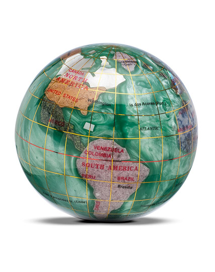 Unique Travel Buddy Gift Idea - World Paperweight made from Gemstones