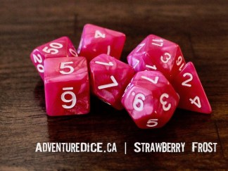 Strawberry Frost RPG dice set