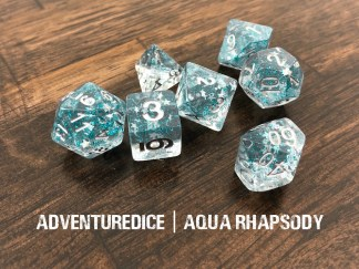Aqua Rhapsody dnd dice set (clear with blue sparkles and silver star sparkles with silver numbering)