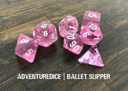 Ballet Slipper DND dice (transparent pink with white numbering)