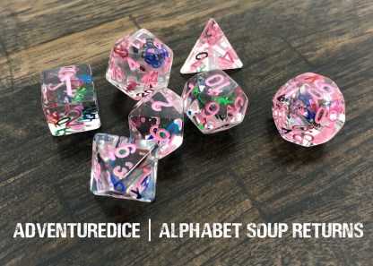 Alphabet Soup Returns dnd dice set (clear with rainbow alphabet letters and pink numbering)