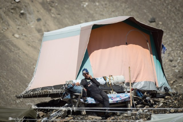 Old Camping Tent from a Glacier in the Tien Shan Mountain Range