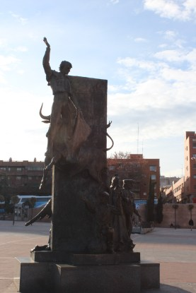 Statue of the last man who died during a bullfight in Madrid