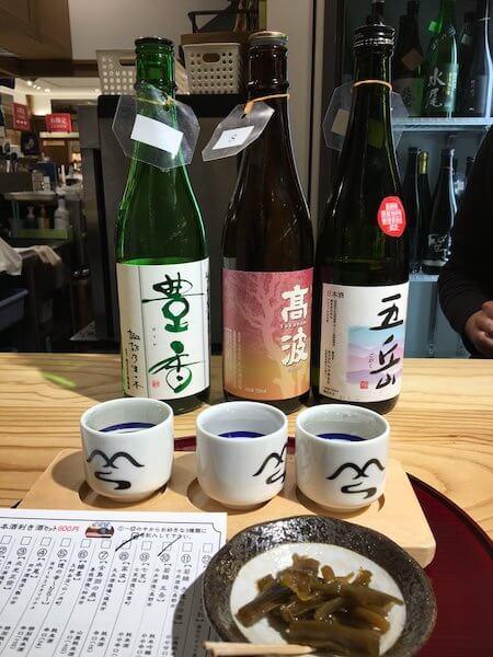 注文した日本酒利き酒セット写真