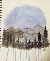 Mountain Silhouette, Watercolor Paint and Acrylic Paint, 2 July 2016