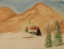"""""""Cabin in the Mountains,"""" Acrylic Paint on Paper, Date Unknown"""