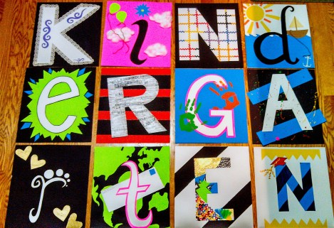"""This was done in high school for the kindergarten class at my school. For their graduation they did an acronym of the word """"kindergarten"""" and I tried to make each letter represent the word it stood for."""
