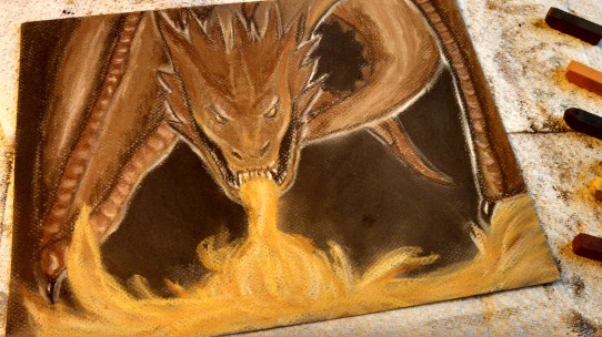 Dragon, Chalk on Paper, Date Unknown