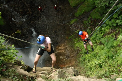 Rappelling down waterfalls in Costa Rica
