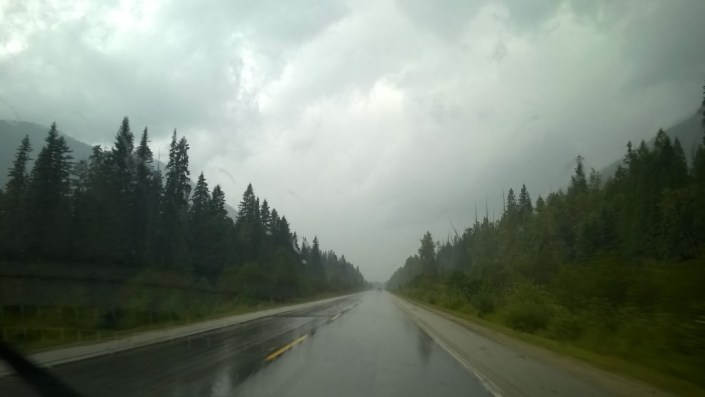 Rainy drive to Jasper