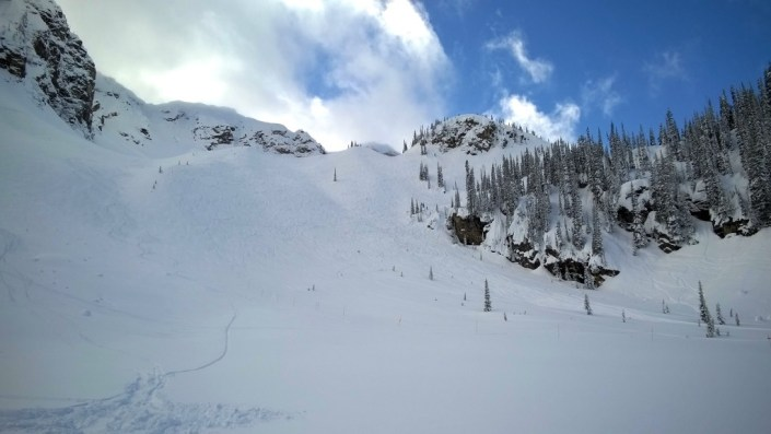 Looking back up the bowl at our fresh tracks in the deep powder.