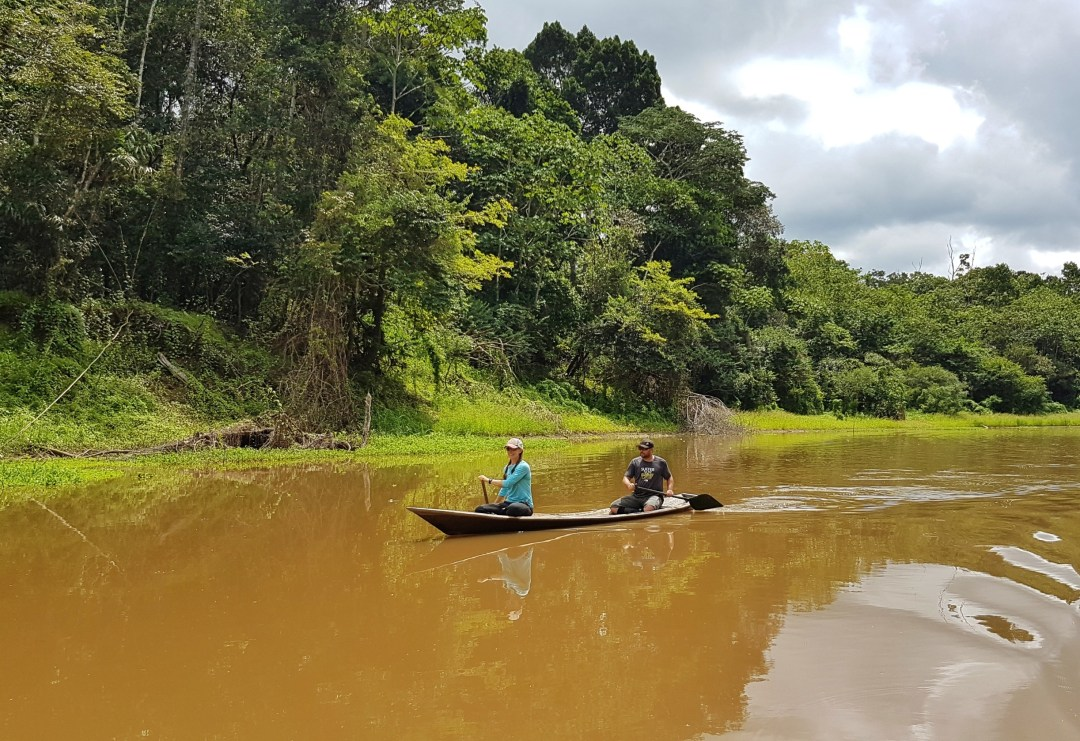 Paddling a traditional dugout canoe down one of the Amazon's smaller tributaries.