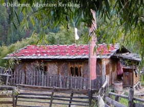 Bhutan style heating. How's this for a hot slate roof! Drying chilis.