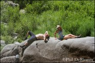 people_relaxing_rock_veil_falls_middle_fork_salmon