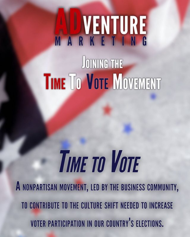 """As a small business, we understand how important everyone's voice is, no matter how big or small. That's why ADventure is participating in the nonpartisan, business led movement-- Time to Vote.   Time to Vote encourages business leadership to create a plan for election day that allows their employees the flexibility and freedom to vote. ADventure has designated election day as a """"no meetings"""" day, and will be providing flexible work hours for all employees.  Interested in participating? Share this movement with your business's leadership team and let us know what your business's voting plan is in the comments below!   #timetovote #vote2020 #election2020 #freedom #electionday #america #usa #votingmatters #vote #justvoted #jointhemovement #adventurewithus #digitalmarketing #tampa #marketing #fullservice #marketing #advertising #brandingdesign #seo #tampa #tampabay #tampaflorida #tampafl #tampabusiness #instagood #lovelife #followme #follow"""