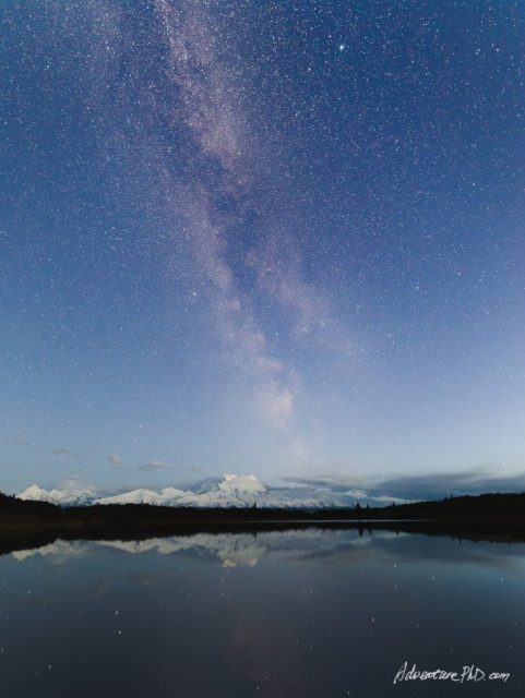 Milky way rises over Mount. Denali (McKinley), viewed from the Reflection Pond near the Wonder Lake campground