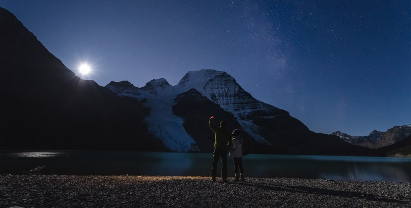 Moon-rise over Mount. Robson viewed from Berg Lake