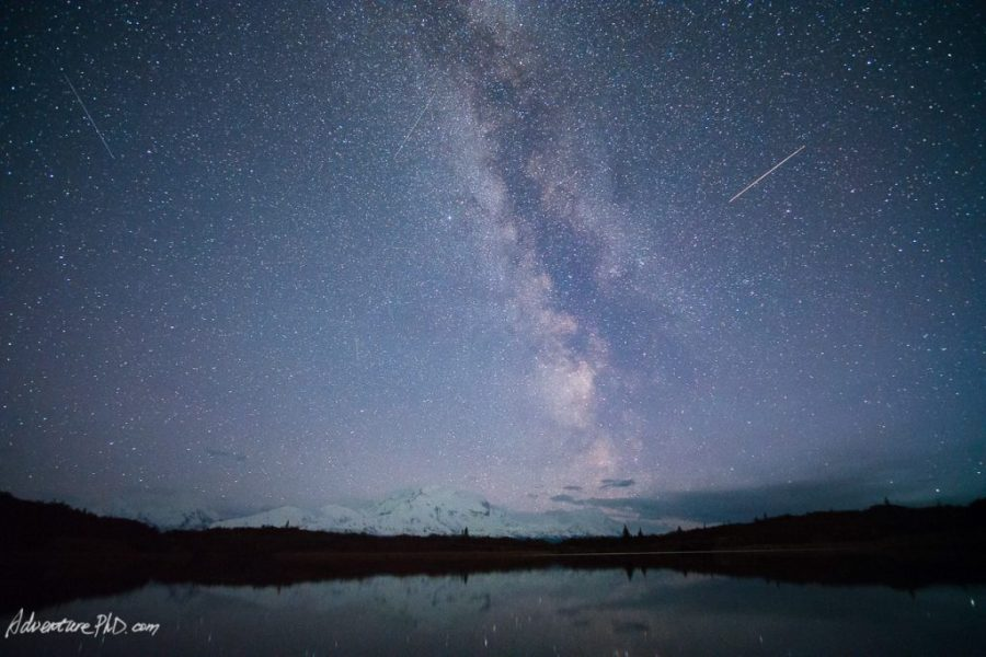 Milky way rising above Mount. Denali