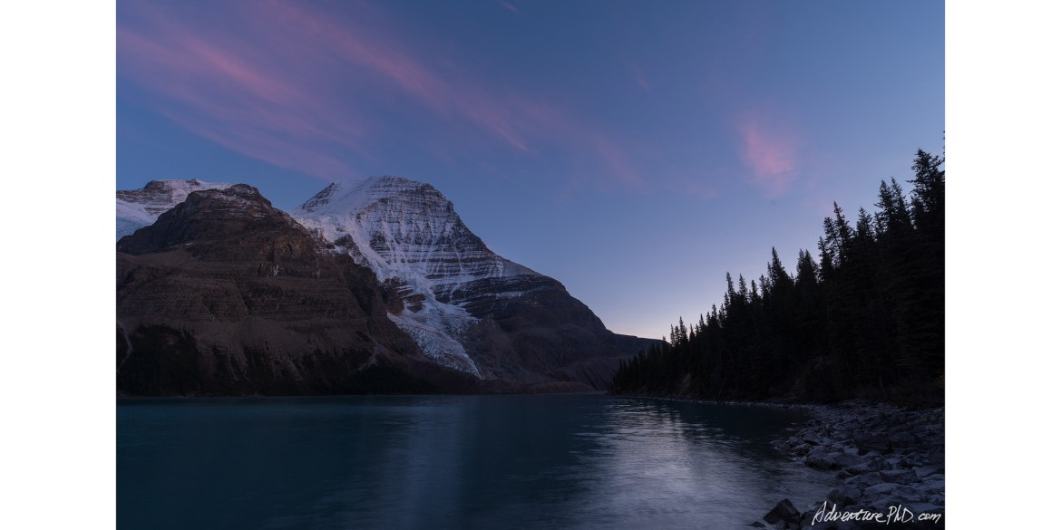 Twilight at Mount. Robson along the Berg Lake