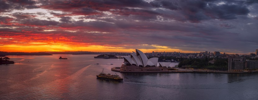 Sydney Harbor Panorama at sunrise