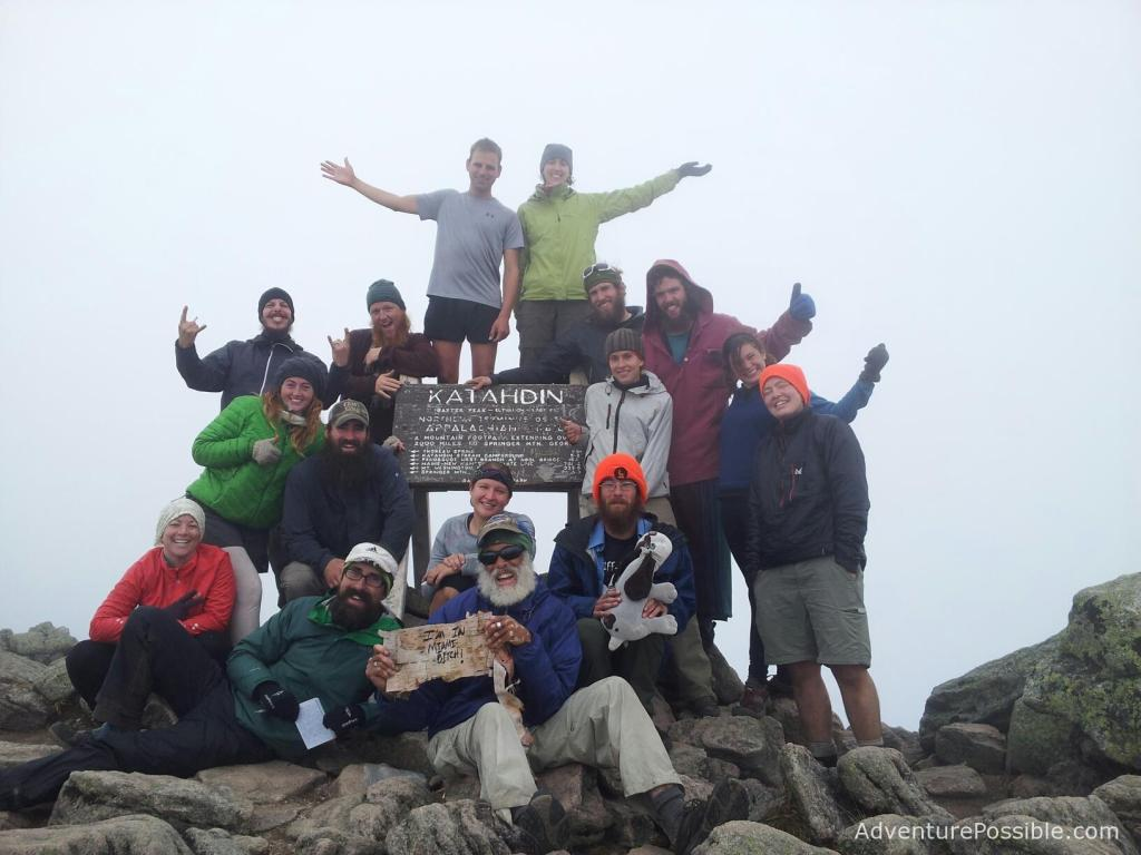 "Mount Katahdin Summit Party of Thru-Hikers. Credit: Ric ""Stick"" Green"