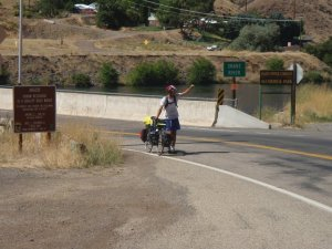 Crossing into Idaho with a busted bicycle.