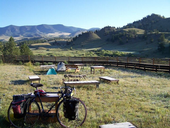 Camping at Currant Creek on a self-contained bike ride across America