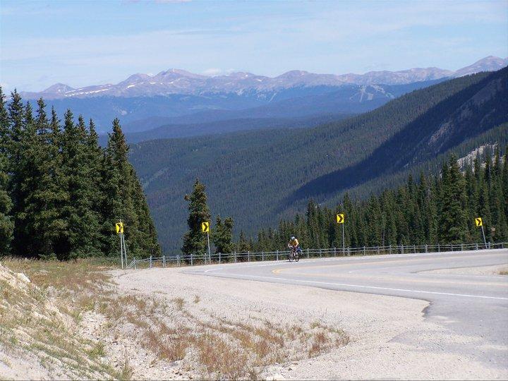 Climbing 10 miles to Hoosier Pass at 11,500 feet.