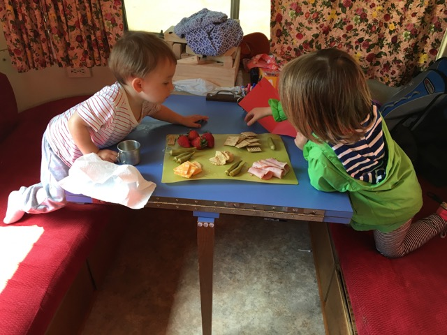 WIlson and Jane enjoying lunch in the RV.