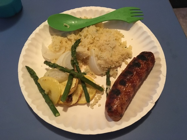 Chicken Sausage, Couscous, Squash, Onions, and Asparagus