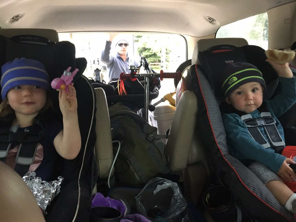 7:45 The kids enjoying breakfast in the car on our way to Lewis and Clark State Park.