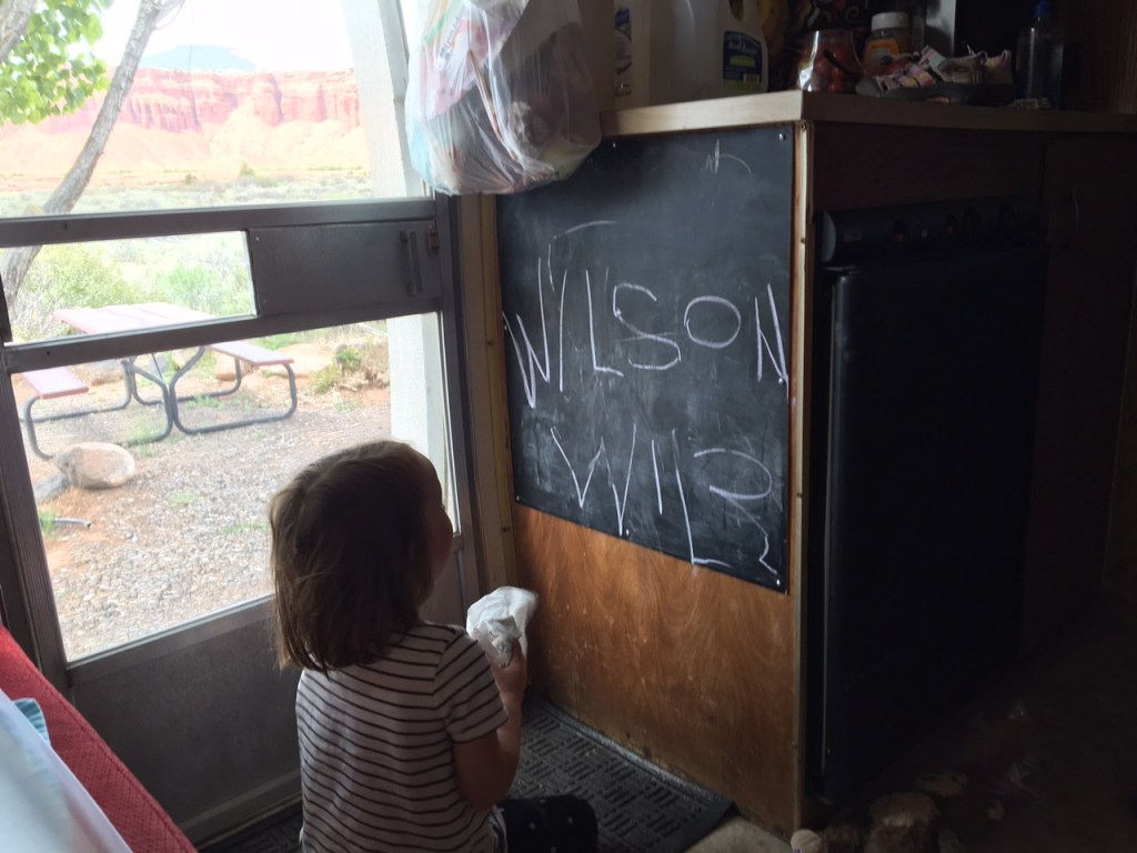 Jane working on her letters.