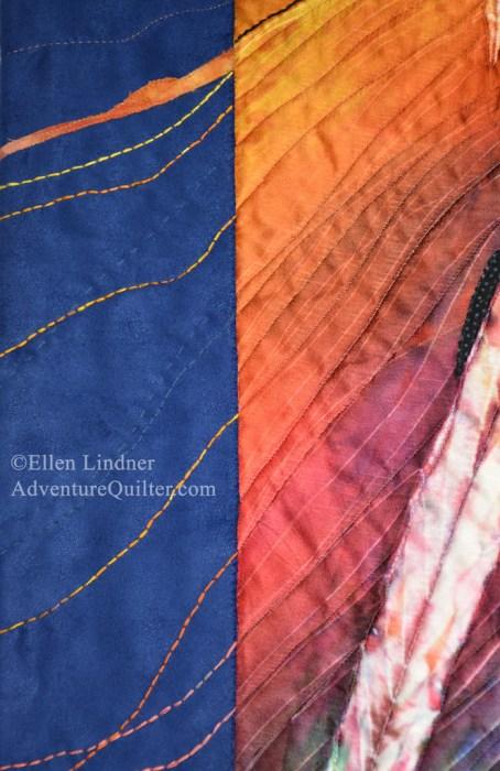 Lava to the Sea - detail, an art quilt by Ellen Lindner. AdventuerQuilter.com