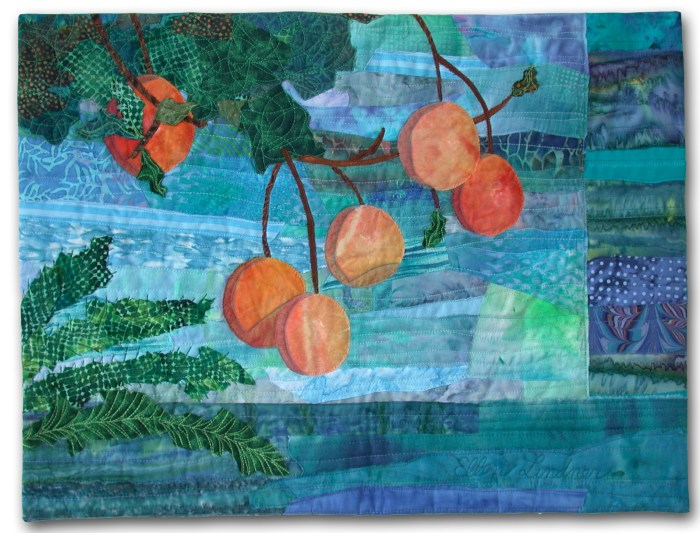 Lakeside Citrus, an art quilt by Ellen Lindner. AdventureQuilter.com