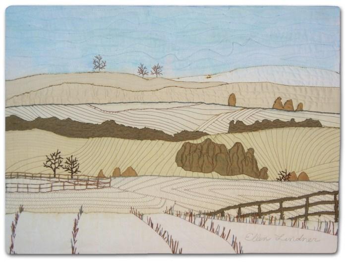 Winter Hills, an art quilt by Ellen Lindner. AdventureQuilter.com