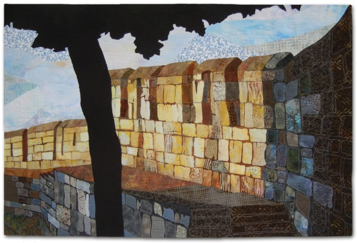 York Wall, an art quilt by Ellen Lindner. AdventureQuilter.com