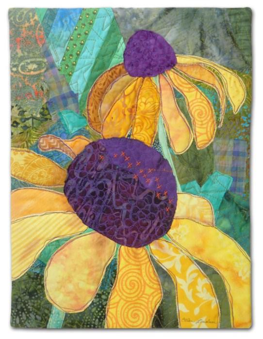 Garden for Peggy, an art quilt made by Ellen Lindner. AdventureQuilter.com