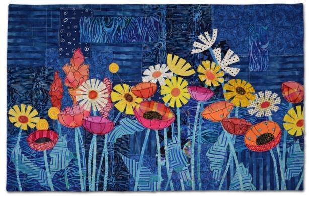 Floral Improv class sample. Taught by Ellen Lindner, AdventurQuilter.com