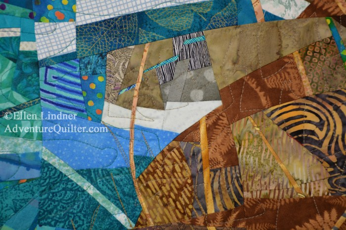 Coastal Overlook - detail, an art quilt by Ellen Lindner. AdventureQuilter.com/blog