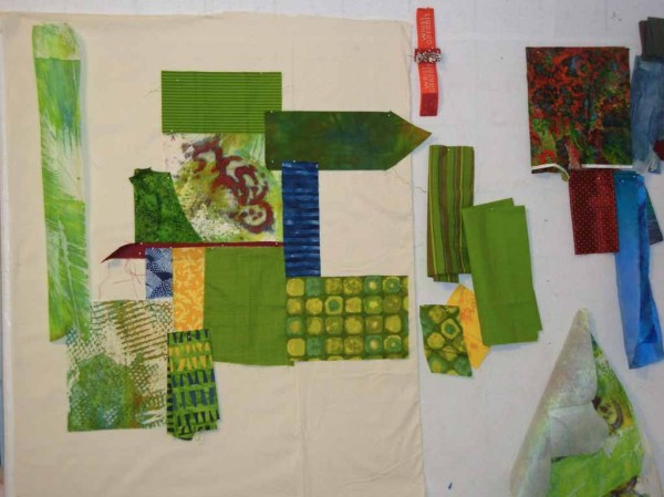 Ellen Lindner starting 2 green quilts. AdventureQuilter.com