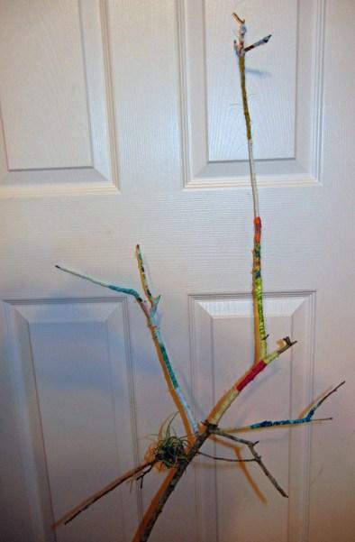 Fabric-wrapped twig. Ellen Lindner, AdventureQuilter.com/blog