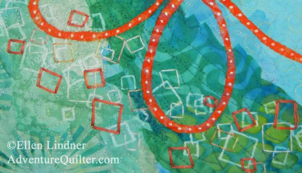 Deja View - detail, an art quilt by Ellen Lindner. AdventureQuilter.com/blog