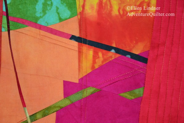 Is it Hot in Here, or is It Just Me? - detail. An improvisational art quilt by Ellen Lindner. AdventureQuilter.com