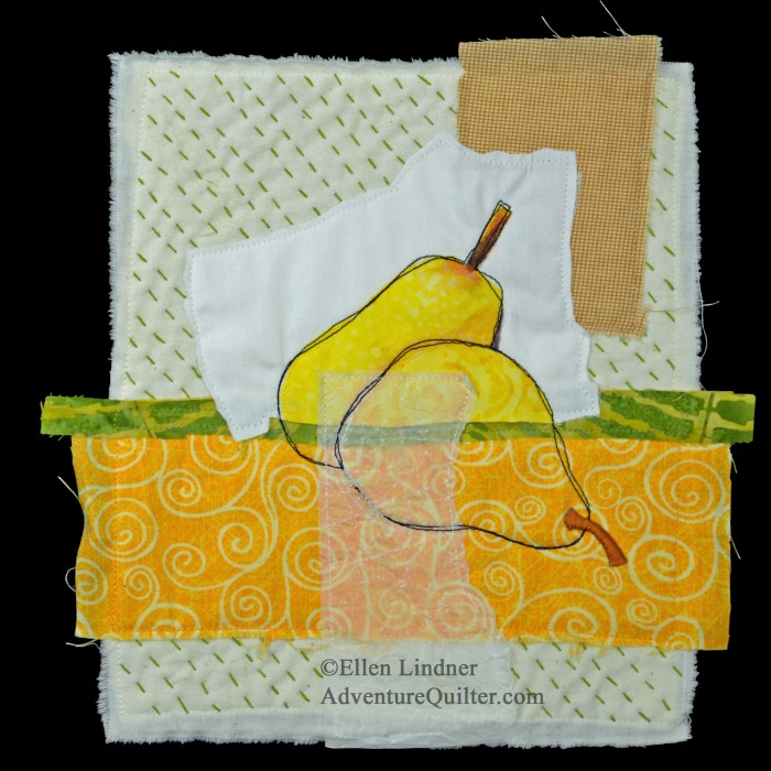 Pear Study #3, an art quilt by Ellen Lindner. AdventureQuilter.com