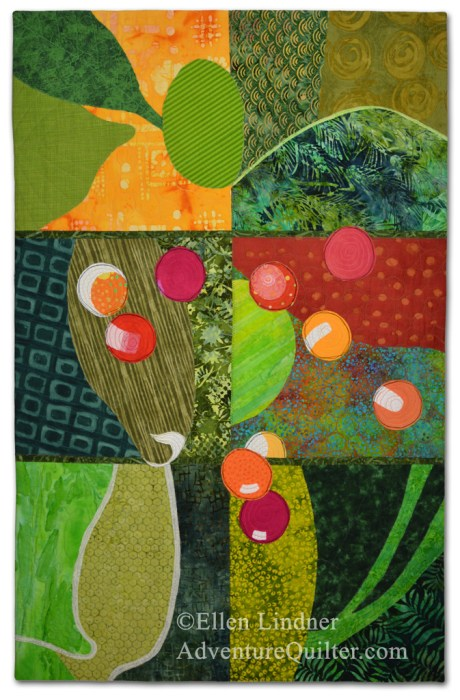Bush Berries, an art quilt by Ellen Lindner. AdventureQuilter.com