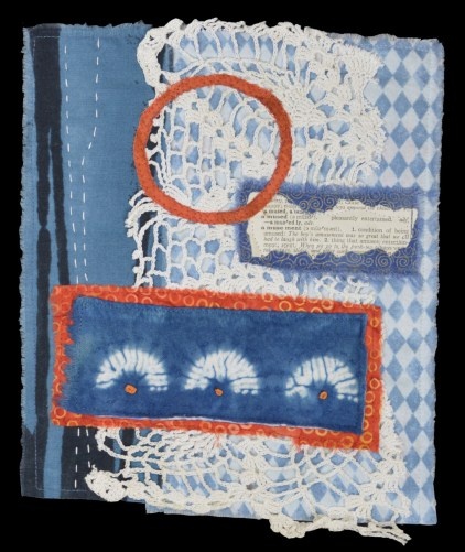 Orange and Blue Collages. Ellen Lindner, AdventureQuilter.com/blog