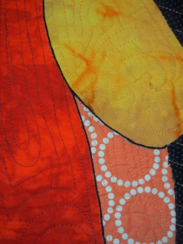 Working on my Flame Vine Quilt. Ellen Lindner, AdventureQuilter.com/blog