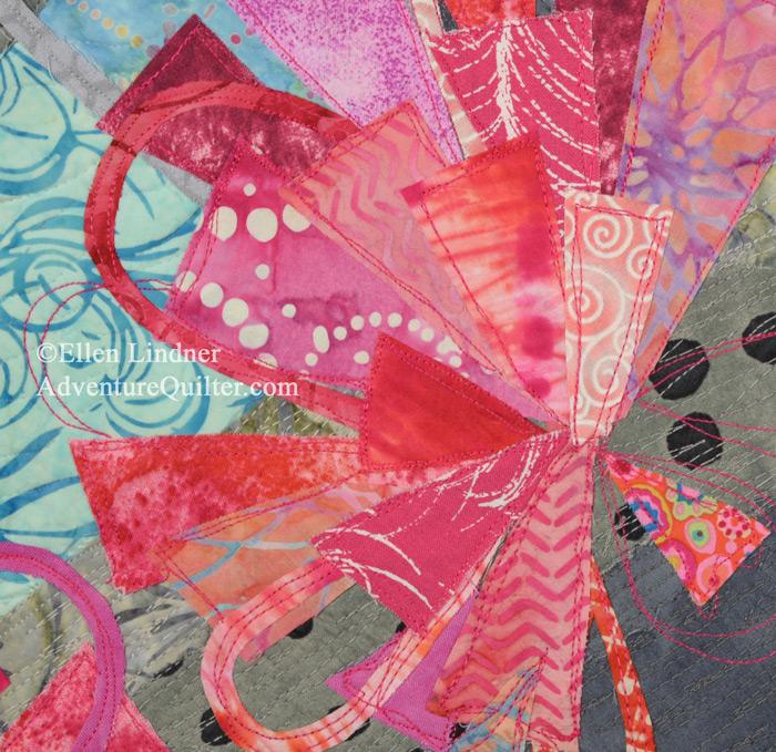 Spring Forth - detail, an art quilt by Ellen Lindner. AdventureQuilter.com/blog