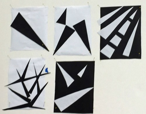 A Class with Rosalie Dace: Black and white exercises. Ellen Lindner, AdventureQuilter.com/blog