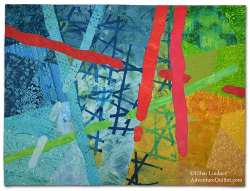 Initial Response, an art quilt by Ellen Lindner. AdventureQuilter.com